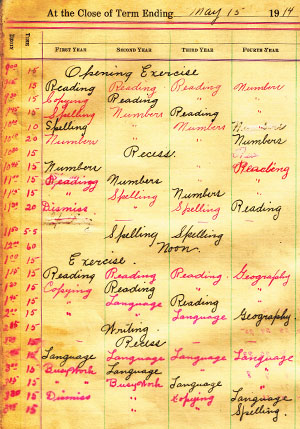 Shown is a primary grades class schedule for the 1913-14 school year at District 8 Pauline.
