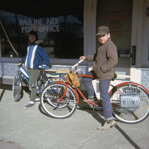 The store, with its ample supply of soda pop and candy, was a draw for local youth. Linda and Chuck Brader are pictured after having biked to the store one day.