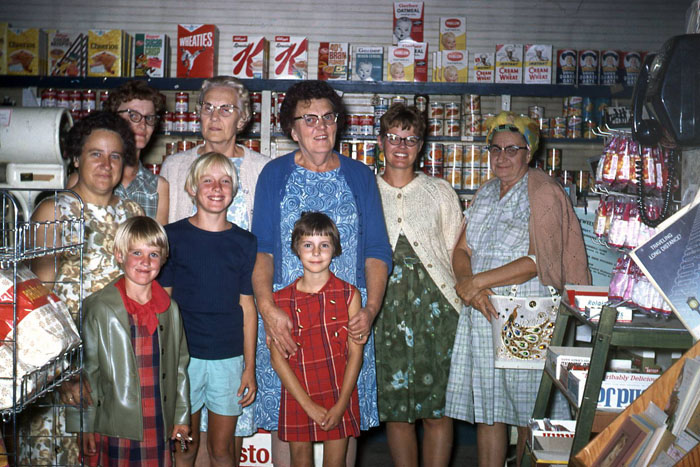 Pictured from left in the back are Trionne Brown, Twilda Brown, Sarah Brown, Lizzie Evans, Marlyce Brown and Mattie Schnuerle. In front are Lisa Brown, Cheryl Brown and Karen Post. This was likely taken when store ownership changed hands late in the 1960s.