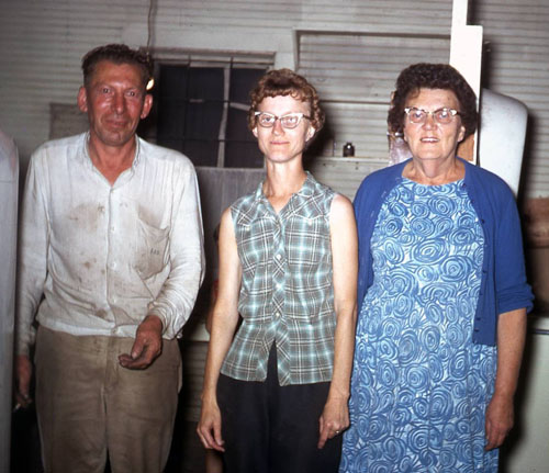 Merl and Twilda Brown, the last owners of the general store, are pictured with Lizzie Evans.