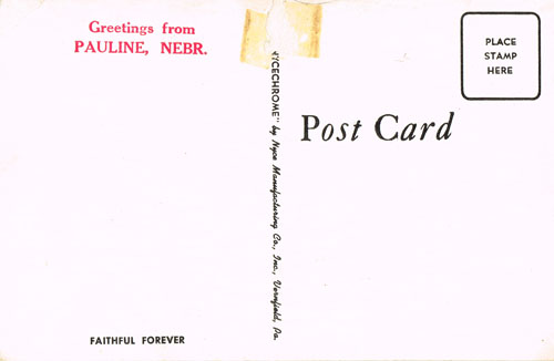 Postcards purchased at the store carried Pauline greetings.
