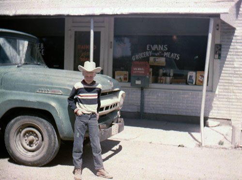 An unidentified young cowboy was among the store's patrons.