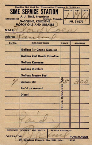A receipt from the Sime Service Station dating to 1961. Courtesy of Donna Knight.