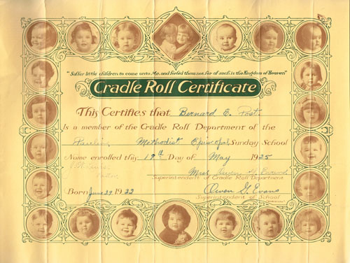 A cradle roll certificate dating to 1925 for Bernard Post, web editor's uncle.