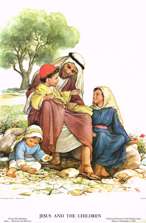 This Sunday school poster depicts Jesus and the children. Courtesy of Pauline Methodist Church, Pat and Larry Smidt.