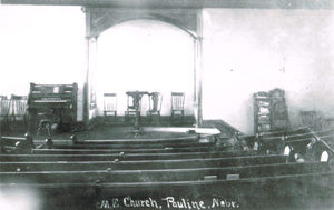 The interior of Pauline Methodist Church, as it appeared on May 23, 1916. Worshippers today will find the church's interior much the same as it was nearly 100 years ago. Photo is from the Adams County Historical Society (194-21, interiors, churches, Met).