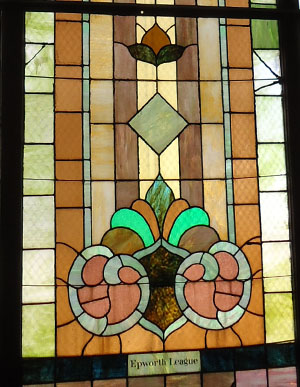 A close-up view of the Epworth League window.