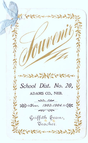 A program from Owen's 1903-04 school year at District 20 Antioch, southeast of Pauline. His uncle, Griffith Evans, was teacher. Courtesy of Agnes Haba and Dorothy Kosmacek.