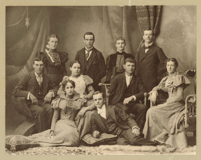 Five young couples pose at, or a little before, the turn of the last century. Included in the group are one of Pauline's early doctors, the grandson of the landowner on whose property Pauline was built, as well as two sibling pairs. Photo is from the Sarah Goding Post collection, courtesy of Kathy Post Seeman.