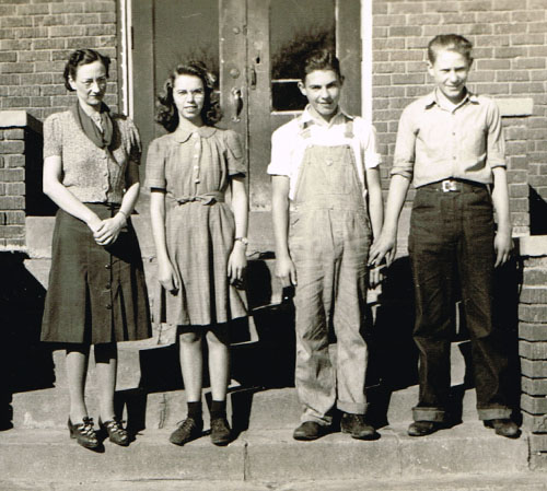 The sophomore class. Left to right: Mrs. Lindbergh, Margaret Earl, Douglas Fate and Donald Vonderfecht.