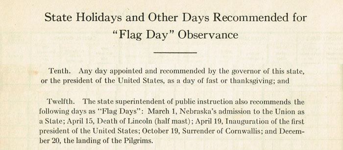 "This outline of flag protocol, contained in a treasurer's record book dating to the 1920s, came also with the suggestion that, ""As far as practicable, the above named days shall be observed in the respective schools of the state by appropriate exercises and instruction of the character especially suitable for the respective occasions."""