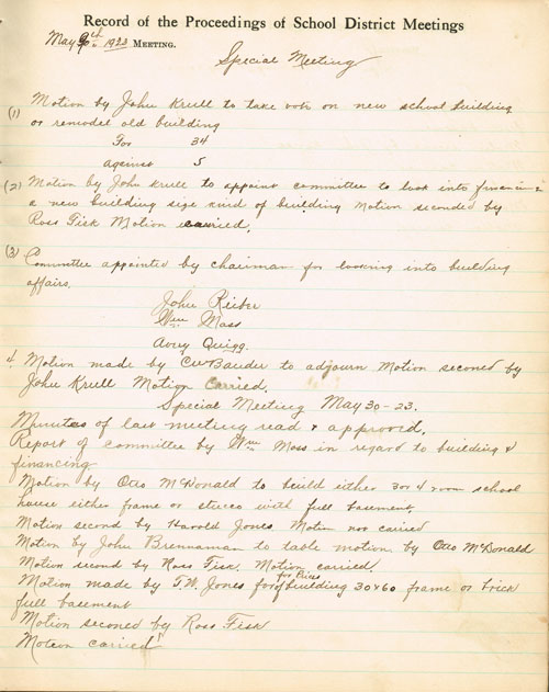 A page from the School District Director's Record dating to May of 1923 details the proceedings that gave birth to Pauline's new brick schoolhouse.