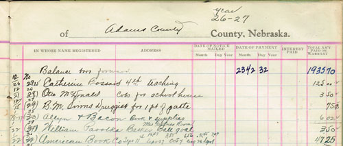 The treasurer's record reflects a sports-related expense of $3.50 - the purchase of a basketball goal for teacher Marie Gartner's room. Note also the purchase of a pint of paste for 75 cents; and corn cobs, which would be used to fire the coal-powered furnace.